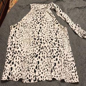 Sleeveless Black/White Animal Print Blouse 12/14